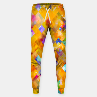 Thumbnail image of geometric pixel square pattern abstract in orange yellow blue Sweatpants, Live Heroes