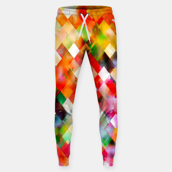 geometric pixel square pattern abstract in red purple green yellow Sweatpants thumbnail image