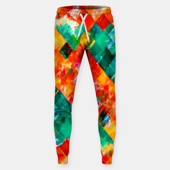 geometric pixel square pattern abstract in orange green red Sweatpants thumbnail image