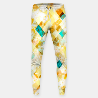 geometric pixel square pattern abstract in yellow brown blue Sweatpants thumbnail image