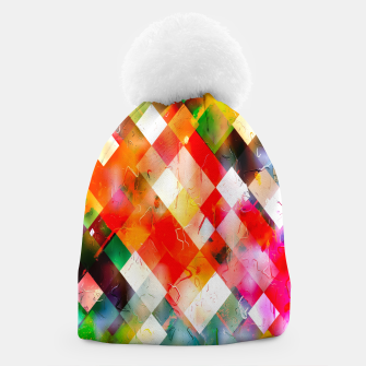 geometric pixel square pattern abstract in red purple green yellow Beanie thumbnail image