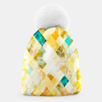 geometric pixel square pattern abstract in yellow brown blue Beanie thumbnail image