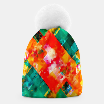geometric pixel square pattern abstract in orange green red Beanie thumbnail image