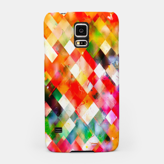 geometric pixel square pattern abstract in red purple green yellow Samsung Case thumbnail image