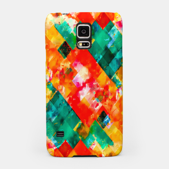 geometric pixel square pattern abstract in orange green red Samsung Case thumbnail image