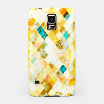 geometric pixel square pattern abstract in yellow brown blue Samsung Case thumbnail image