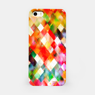 geometric pixel square pattern abstract in red purple green yellow iPhone Case thumbnail image