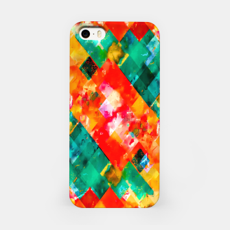 geometric pixel square pattern abstract in orange green red iPhone Case thumbnail image
