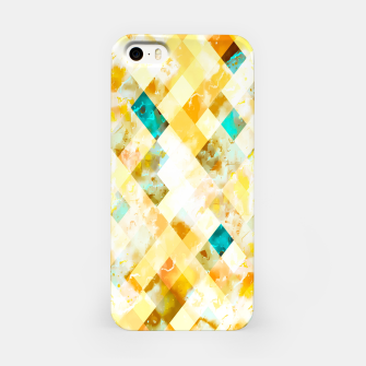 geometric pixel square pattern abstract in yellow brown blue iPhone Case thumbnail image