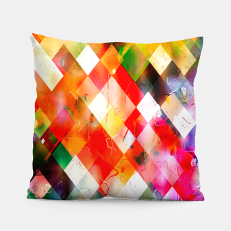 geometric pixel square pattern abstract in red purple green yellow Pillow thumbnail image