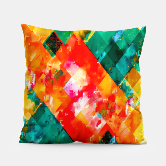geometric pixel square pattern abstract in orange green red Pillow thumbnail image