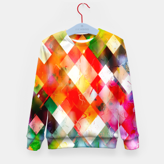 geometric pixel square pattern abstract in red purple green yellow Kid's sweater thumbnail image