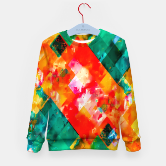 geometric pixel square pattern abstract in orange green red Kid's sweater thumbnail image