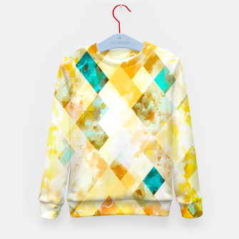 geometric pixel square pattern abstract in yellow brown blue Kid's sweater thumbnail image