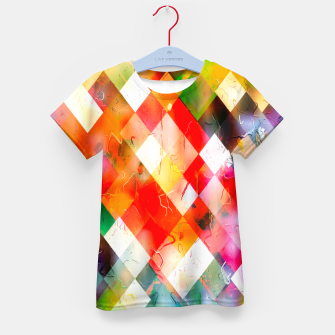 geometric pixel square pattern abstract in red purple green yellow Kid's t-shirt thumbnail image