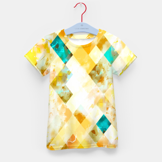 geometric pixel square pattern abstract in yellow brown blue Kid's t-shirt thumbnail image