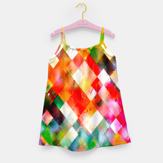 geometric pixel square pattern abstract in red purple green yellow Girl's dress thumbnail image