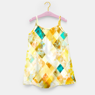 geometric pixel square pattern abstract in yellow brown blue Girl's dress thumbnail image