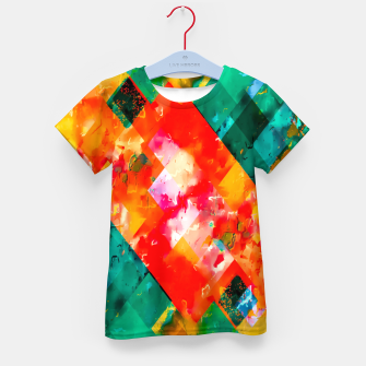 geometric pixel square pattern abstract in orange green red Kid's t-shirt thumbnail image