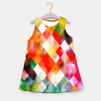 geometric pixel square pattern abstract in red purple green yellow Girl's summer dress thumbnail image