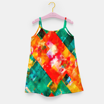 geometric pixel square pattern abstract in orange green red Girl's dress thumbnail image