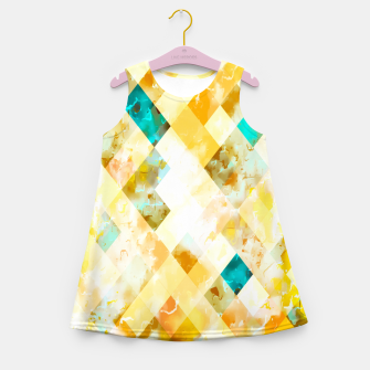 geometric pixel square pattern abstract in yellow brown blue Girl's summer dress thumbnail image