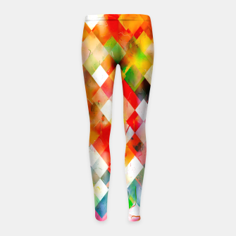 geometric pixel square pattern abstract in red purple green yellow Girl's leggings thumbnail image
