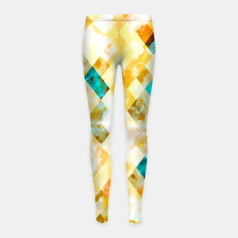 geometric pixel square pattern abstract in yellow brown blue Girl's leggings thumbnail image