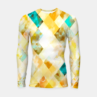 geometric pixel square pattern abstract in yellow brown blue Longsleeve rashguard  thumbnail image