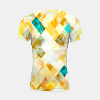 geometric pixel square pattern abstract in yellow brown blue Shortsleeve rashguard thumbnail image