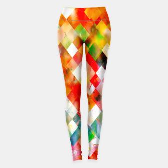 geometric pixel square pattern abstract in red purple green yellow Leggings thumbnail image
