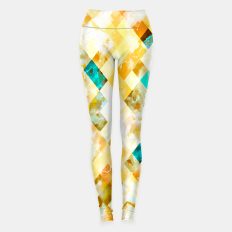 geometric pixel square pattern abstract in yellow brown blue Leggings thumbnail image