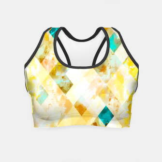 geometric pixel square pattern abstract in yellow brown blue Crop Top thumbnail image