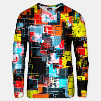 Thumbnail image of geometric pixel square pattern abstract in red blue yellow Unisex sweater, Live Heroes
