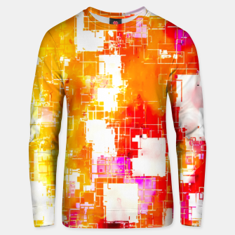 Thumbnail image of geometric pixel square pattern abstract in red yellow pink Unisex sweater, Live Heroes