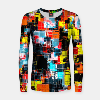 geometric pixel square pattern abstract in red blue yellow Women sweater thumbnail image