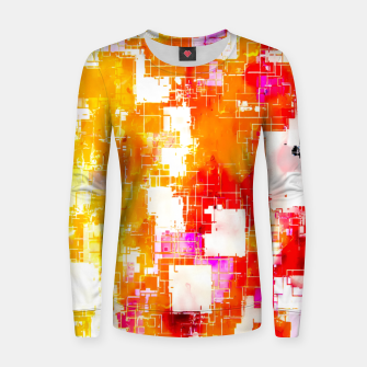 geometric pixel square pattern abstract in red yellow pink Women sweater thumbnail image