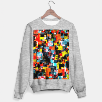 geometric pixel square pattern abstract in red blue yellow Sweater regular thumbnail image