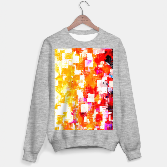 geometric pixel square pattern abstract in red yellow pink Sweater regular thumbnail image
