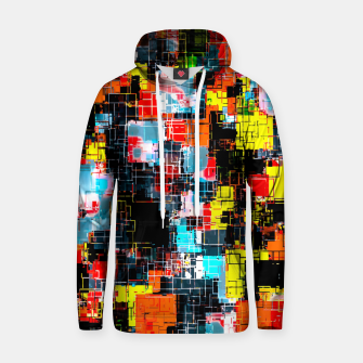 geometric pixel square pattern abstract in red blue yellow Hoodie thumbnail image