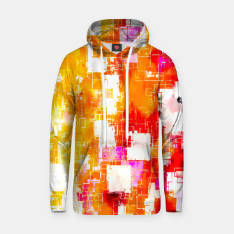 geometric pixel square pattern abstract in red yellow pink Hoodie thumbnail image