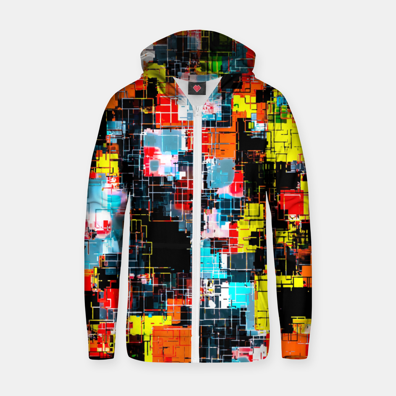 Image of geometric pixel square pattern abstract in red blue yellow Zip up hoodie - Live Heroes
