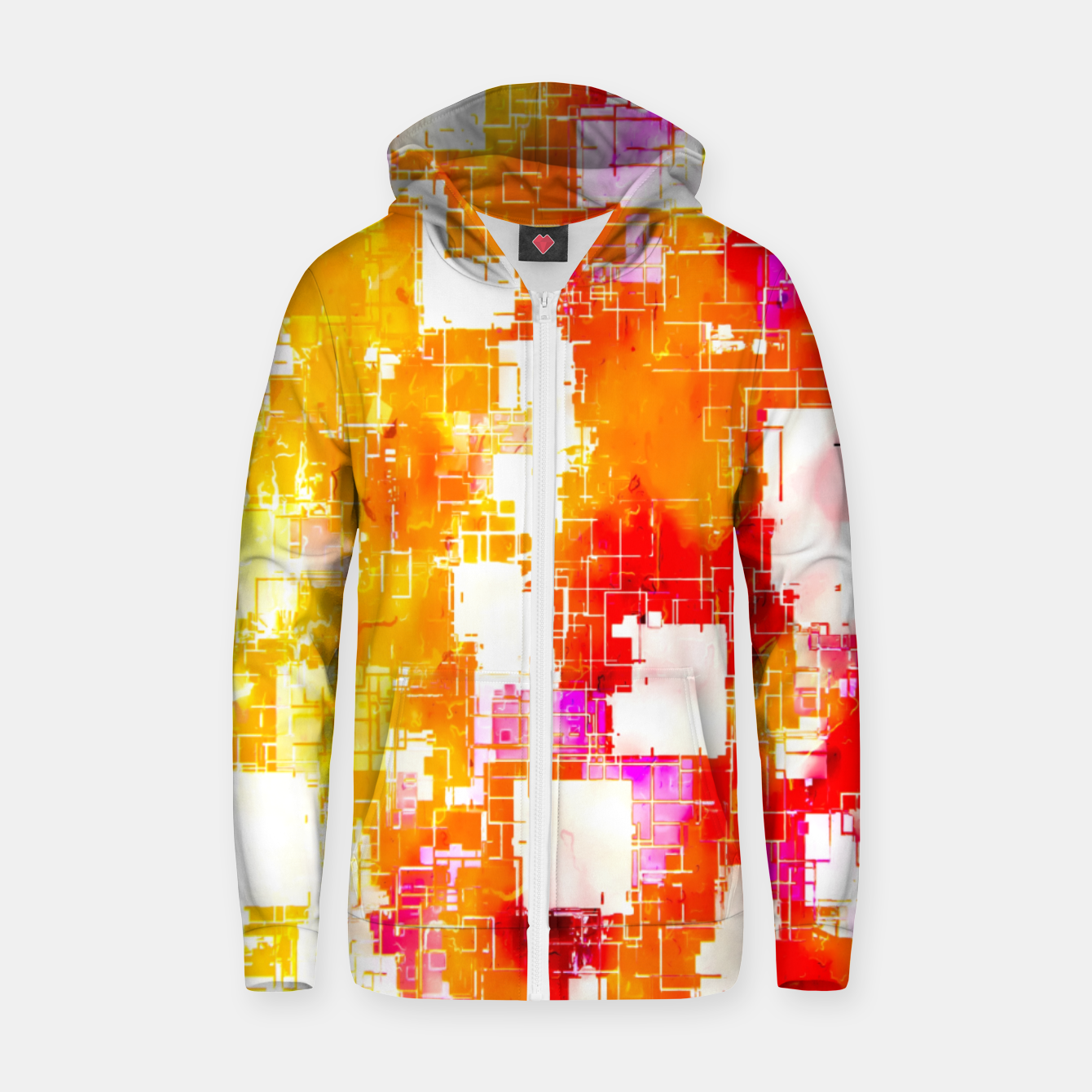 Image of geometric pixel square pattern abstract in red yellow pink Zip up hoodie - Live Heroes