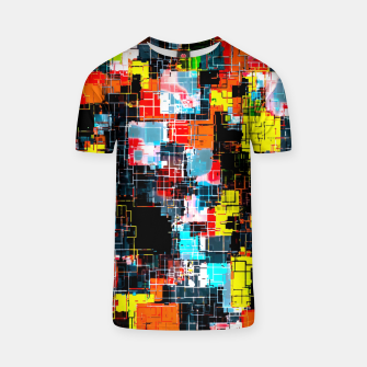 geometric pixel square pattern abstract in red blue yellow T-shirt thumbnail image
