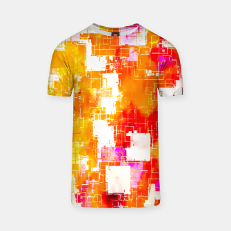 geometric pixel square pattern abstract in red yellow pink T-shirt thumbnail image