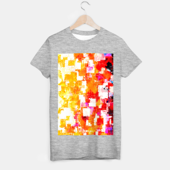 geometric pixel square pattern abstract in red yellow pink T-shirt regular thumbnail image