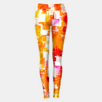 geometric pixel square pattern abstract in red yellow pink Leggings thumbnail image