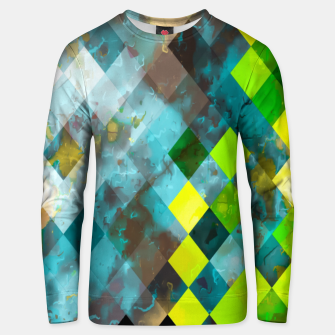 Thumbnail image of geometric square pixel pattern abstract art background in blue green Unisex sweater, Live Heroes
