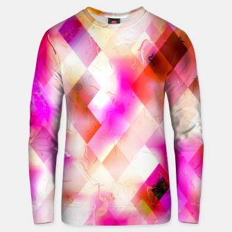 geometric square pixel pattern abstract art background in pink Unisex sweater thumbnail image