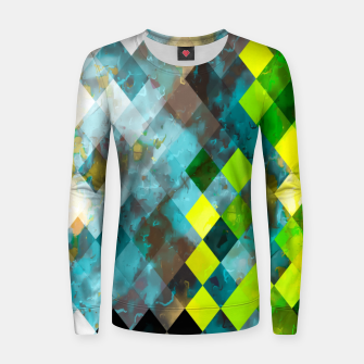 geometric square pixel pattern abstract art background in blue green Women sweater thumbnail image